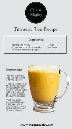 Turmeric Drink, Turmeric Recipes, Tumeric Tea Recipe, Yummy Drinks, Healthy Drinks, Best Tea Brands, Coffee Recipes, Hot Tea Recipes, Latte Recipe