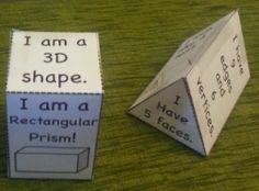 I like the idea of having kids write attributes on their shape nets. Second Grade Math, First Grade Classroom, Math Classroom, Kindergarten Math, Teaching Math, Teaching Ideas, Classroom Ideas, Math Resources, Math Activities