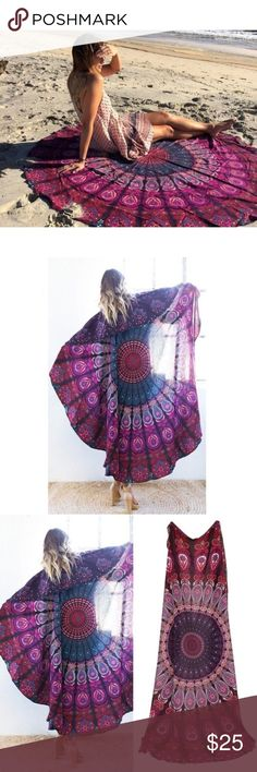 """Round Mandala Boho Beach Wrap/Throw Beautiful, round, boho, printed beach wrap/throw. Super versatile. Can be used as a wrap at the beach, and then throw on the sand for a beach throw. Material is a medium weight and has a satin like feel. Features a multi-colored print in purple, brown and blue. The last three photos shows colors & material. Measurements: 53"""" across. Pricing on Boutique items is FIRM. Vendors do not always provide tags. This item is brand new item from a vendor & is tagged…"""