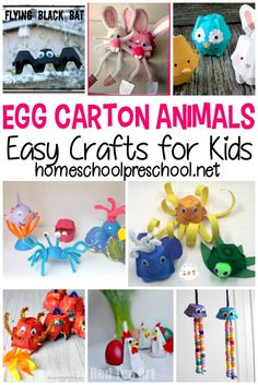 Recycled products make the best art projects. Here are 30 egg carton animals your kids will enjoy making during their next craft time! Animal Crafts For Kids, Crafts For Kids To Make, Toddler Crafts, Preschool Crafts, Fun Crafts, Classroom Crafts, Décoration New York, Graffiti, Travel Crafts