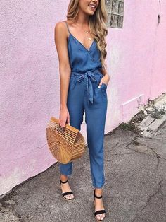 2019 Summer Sexy V-Neck Spaghetti Strap Wrap Top Tie Waist Casual Jumpsuit Jumpsuit Outfit, Casual Jumpsuit, Denim Jumpsuit, Summer Jumpsuit, Overalls Outfit, Casual Pants, Sparkly Jumpsuit, Jumpsuit Style, Sequin Jumpsuit