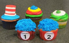 Dr. Seuss cupcakes with step-by-step decorating instructions.