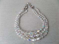 Triple Stranded Aurora Borealis Beads by BlackSquirrelHome on Etsy