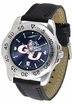 Gonzaga University Bulldogs Men's Leather Band Sports Watch by SunTime. $55.95. Leather Band. Adjustable Band. Men. AnoChrome Dial Enhances Team Logo And Overall Look. Officially Licensed Gonzaga Bulldogs Men's Leather Band Sports Watch. Gonzaga Bulldogs men's sports watch. This Bulldogs watch comes with a genuine leather strap. A date calendar function plus a rotating bezel/timer circles the scratch-resistant crystal. The scratch resistant face protects the watch from the har...
