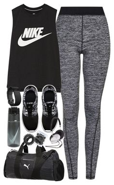 """Outfit for the gym"" by ferned ❤ liked on Polyvore featuring Topshop, NIKE, Puma, Fitbit, Invisibobble and Forever 21"