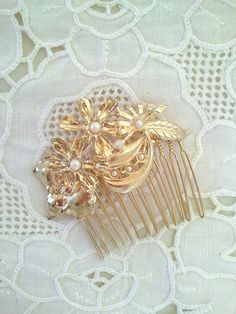 gold hair comb with pearls  bridal hair comb  hair by netalyshany, $28.00