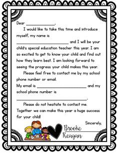 Super cute letter to send home with your special education students. It opens the communication with parents from day 1!