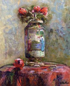 artmagnifique:    EDOUARD VUILLARD. Anemones in a Chinese, 1900, oil on canvas. Post-Impressionism.
