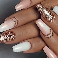 Color Street - Only in Vegas & Coming Up Rose Gold - TOUGH AS NAILS - You are in the right place about chrome Nail Here we offer you the most beautiful pictures about t - Gold Acrylic Nails, Rose Gold Nails, Holiday Acrylic Nails, Blush Nails, Stylish Nails, Trendy Nails, Elegant Nails, Sassy Nails, Cute Acrylic Nail Designs