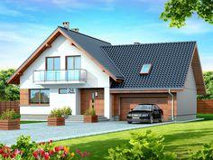 DOM.PL™ - Projekt domu DN NOELIA BIS 2M (garaż dwustanowiskowy) CE - DOM PC1-50 - gotowy koszt budowy My Home Design, Modern House Design, Dormer Bungalow, Black House Exterior, Bungalow House Design, Forest House, House Extensions, Design Case, Kit Homes