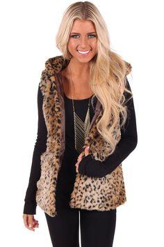 Lime Lush Boutique - Leopard Print Faux Fur Hoodie Vest