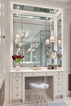 68 Ideas Bathroom Closet Vanity Dressing Tables For 2019 Walk In Closet Design, Bedroom Closet Design, Closet Designs, Dressing Room Decor, Dressing Room Design, Dressing Tables, Dressing Table In Bathroom, Modern Dressing Table Designs, Dressing Rooms