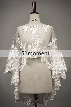 2015 Long Lace Bridal Jacket Bolero Wedding Shawl Wraps Cape White/Ivory Shrug #Jacket