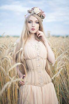 Absentia wearing the CS-426 #corset in beige mesh