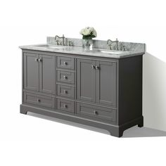 Shop Ancerre Designs Audrey Sapphire Gray Undermount Double Sink Birch Bathroom Vanity with Natural Marble Top (Common: 60-in x 22-in; Actual: 60-in x 22-in) at Lowes.com
