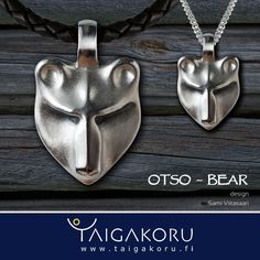 Karhu, Otso, Bear. Silver pendant, kaulakoru