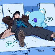 RM and Koya, so cute ❤ Bts Chibi, Namjin, Bts Memes, Bts Anime, Bts Rap Monster, Line Friends, Bts Drawings, Bts Fans, Kpop Fanart