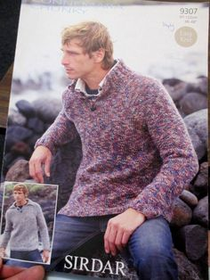 d7a4cb8832ee32 Sirdar Chunky knitting pattern leaflet no. 9307 Men s Jumper size 38-48  inches