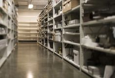 The Library and Resource Center, which houses the Missouri History Museum's collections. Shelving at one of the LRC's storerooms.