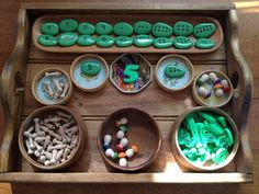 Here's a nice example of a math tray for exploring number.