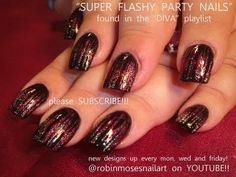 Easy Party Girl Nail Art - Fierce Red & Silver Glitter