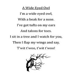 Owl unit ideas plus Owls poem pdf Owl Preschool, Preschool Poems, Preschool Music, Songs For Toddlers, Lesson Plans For Toddlers, Kids Songs, Bird Poems, Owl Activities, Baby Owls