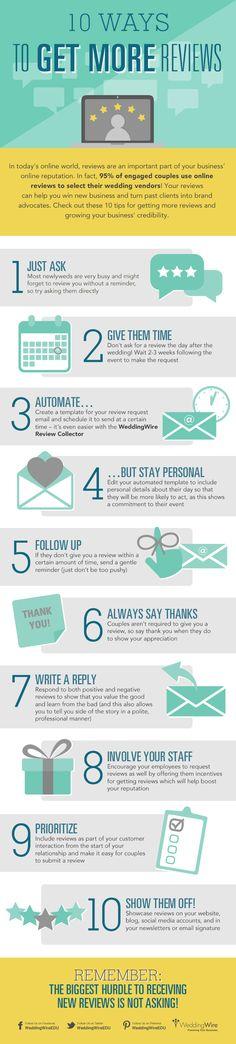 10 Ways to Get More Reviews! #reviews #weddingprofessionals #WeddingWire