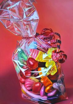Art: Sarah Graham (cp) I like the celiphone wrapper look. Sarah Graham Artist, Sweets Art, Candy Art, Artistic Installation, Gcse Art, High Art, Realism Art, Food Illustrations, Confectionery
