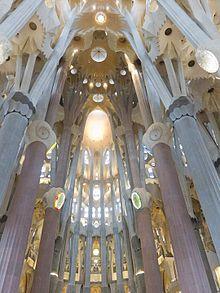Inside La Sagrada Familia, Barcelona, Spain