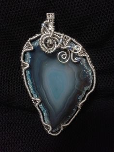 Blue geode wire wrapped pendant!