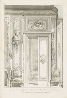 """Tombstone:  Print, """"Design for the Door of the Apartment for Madame Baronness de Besenval"""", 1740.  Juste-Aurèle Meissonnier .1740. Engraving on white laid paper.Smithsonian, Cooper-Hewitt, National Design Museum"""