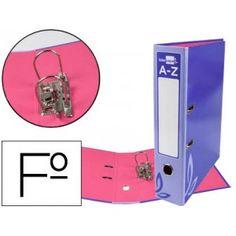 Archivador muy economico con mecanismo de palanca LOMO ESTRECHO y ranura, fabricado en cartón forrado y plastificado en color azu