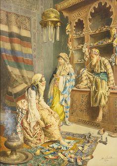 Poster Painting - The Shoe Shop by Ettore Simonetti Arabian Art, Turkish Art, Classical Art, Arabian Nights, Old Master, Islamic Art, Cool Artwork, Oeuvre D'art, Female Art