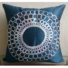 Teal Blue Medallion Pillow Cover, Silk Pillows Cover - Teal N Silver Discs Blue Pillow Covers, Blue Pillows, Throw Pillow Cases, Toss Pillows, Duvet Covers, Decorative Pillow Covers, Decorative Throw Pillows, European Pillows, Textiles