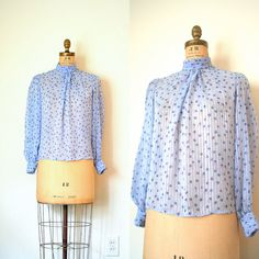 Retro Size Medium Long Sleeve Pullover Black and Blue Abstract Print Professional Top Vintage 80/'s High Neck Chiffon Secretary Blouse