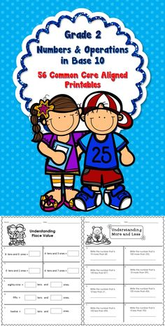 56 No prep printables for Numbers and Operations in Base 10 - Grade 2