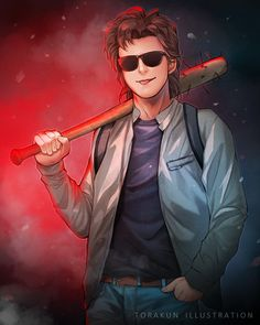 """Stranger Things Steve Harrington, Mom of the year. Commission is open, email me at hikaru_matsui@yahoo.com if interested :)"" torakun.paigeeworld.com #strangerthings #steveharrington #joekeery #anime #netflix #fanart #strangerthings2 -Ahiruu"