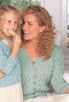 Free Knitting Pattern for Pretty Lace Cardigan in Adult and Child Sizes - Great as mom and me pattern or just for a single project. This light lace cardigan sweater comes in sizes for children and 8 years and adult S to XL. Knit Cardigan Pattern, Lace Cardigan, Sweater Knitting Patterns, Lace Knitting, Knit Patterns, Patons Classic Wool, Knitting Supplies, Free Clothes, Pullover