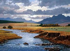 Roelof Rossouw African Paintings, South African Artists, Landscape Paintings, Landscapes, Ciel, Art Techniques, Art Images, Contemporary Art, Art Photography