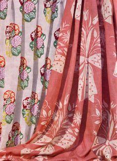 Fabric design from the Tapestry Design, Textile Design, Fabric Design, Cotton Textile, Cotton Fabric, Royal Copenhagen, Printed Linen, Bird Design, Curtain Fabric
