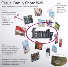 Easy DIY family photo wall. Protect your walls with removable Command Clips. Click through to get the step by steps.