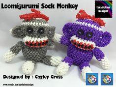 Looks like it's basically crochet done with Rainbow Loom bands. Sooo cute! Loomigurumi Sock Monkey - hook only - amigurumi with Rainbow Loom Bands