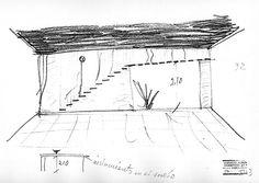 Esboços da escada interior da sala de estar (1951) Fonte: Livro CODERCH CASA UGALDE HOUSE