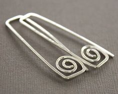Rectangular hook sterling silver earrings with swirls - Greek style earrings - Threader earrings - Trendy earrings - ER087