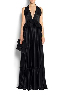 Black silk-satin Silk-chiffon bodice and yoke inserts, ruffled sleeves and pleated peplum, fluted skirt, gathered hem Concealed hook and zip fastening at back 100% silk Dry clean