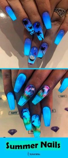 cute summer nail designs to copy - nails - . - 18 cute summer nail designs to copy – nails – / A …, Best cute summer nail designs to copy - nails - . - 18 cute summer nail designs to copy – nails – / A …, Best - Blue Ombre Nails, Blue Acrylic Nails, Acrylic Nail Designs, Nail Art Designs, Ombre Hair, Cute Summer Nail Designs, Cute Summer Nails, Nail Summer, Tropical Nail Designs