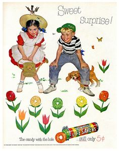 A garden of yummy Lifesavers! 1950 ad. Everyone still loves Lifesavers today.