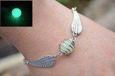 Luminous Harry Potter Bracelet,Flying Golden snitch Bracelet with sided wings.harry potter  jewelry,wire wrapped beaded jewelry