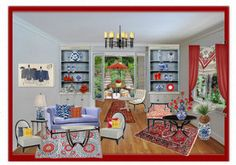 """Little Blue & Red Room"" by Bobbi Moore, Panache Designs"