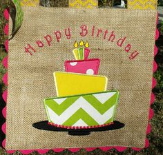 Burlap Garden Flag Happy Birthday Cake by sewgoddesscreations